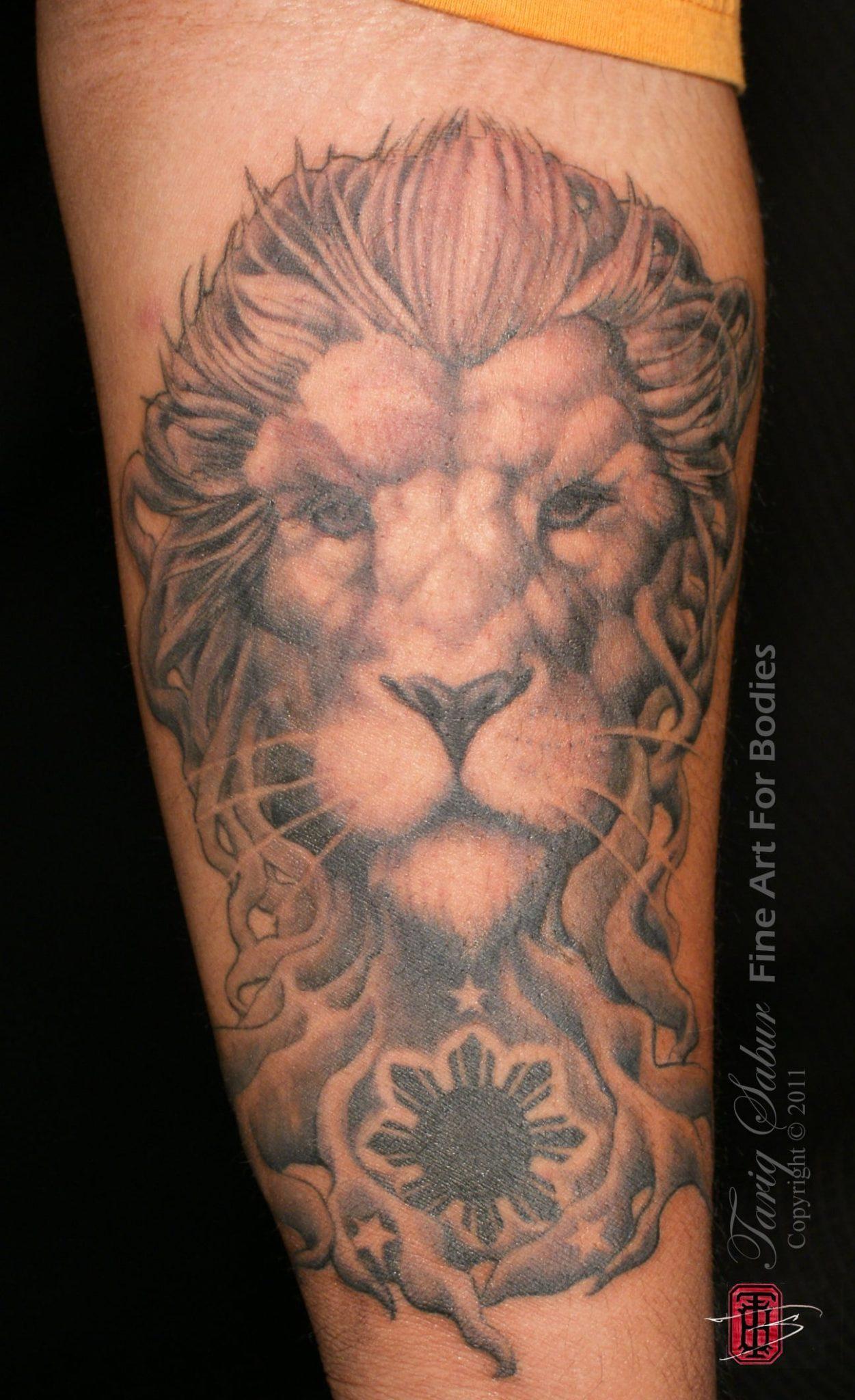Fillipino Phillipino Mangrove Lion flag eight point star tattoo sleeve Tempe Tattoo Artist Tariq Sabur Fine Art For Bodies Studio 6