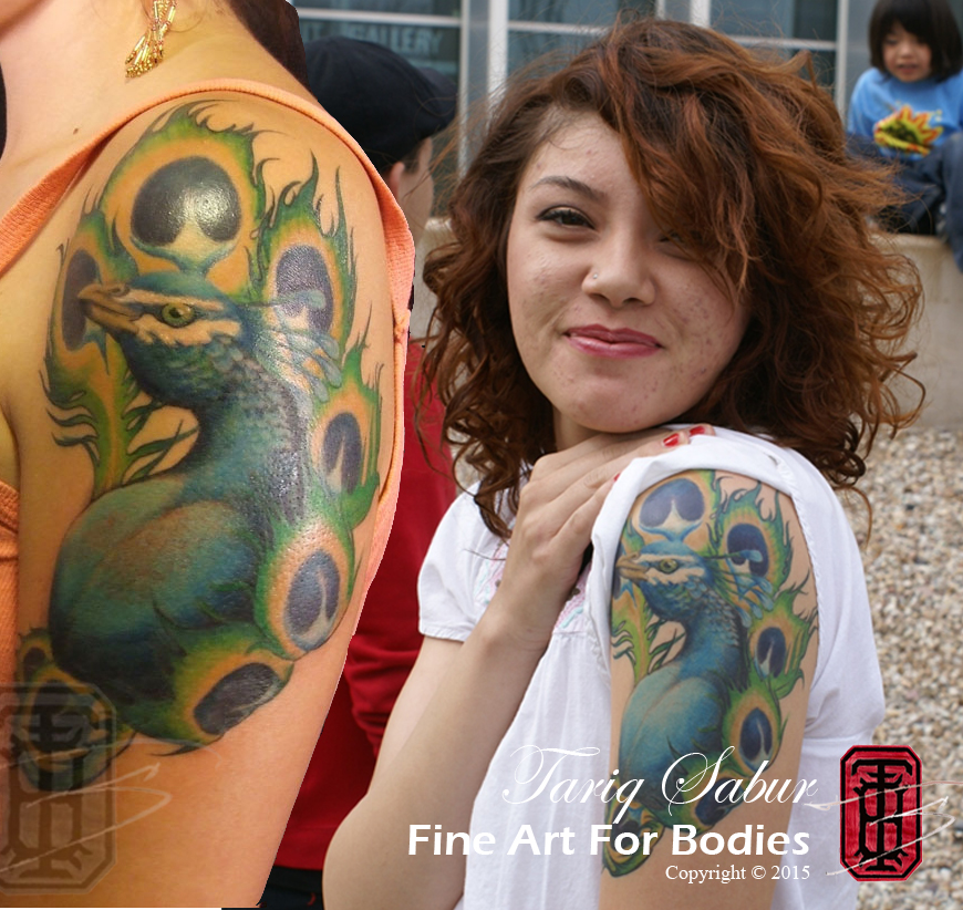 "Aaaw! I came across this while I was updating my portfolio and could not help re- uploading this photo. This is the kind of thing I love to show to people who say "" you cant"" to tattoos that are too bright, to blended, or too detailed. This is my freind Diane. She has always beeen huge supporter of Fine Art For Bodies.She got this tattoo at a *undisclosed location* waaaaay back in 2009, and this phot was the spring of 2013. Still looking brilliant and subtle and awesome. The old sayings DO hold: Bold will hold, and simple is better. But cleanliness and quality of craftsmanship, and TIME invested, and care taken will go a long way. Make sure you rad your artists' aftercare instructions and FOLLOW them. (Mine are at www.fineartforbodies.com/aftercare, but you follow YOUR artist's instructions.) Technology and technique in tattoos has evolved a million times* in the past 10 years, as has both the social acceptance of tattoos in general, and the aesthetic, the knowledge of, and acceptance of what a tattoo looks like long term, and how it is supposed to age. I have a strong theory that tattoos done since 2005 will last WAY longer and neater and cleaner than those done, healed, and abused with less evolved methods back in the 50's. Heck that was back before they even ""invented bacteria."" -Philadelphia Eddy, ""Hori Smoku"" Documentary. lol!! But even if they don't, I have confidence in the thought that, WE as grandparents are going to be twisted and gnarled, and faded, and weathered, and BEAUTIFUL. And so will our tattoos."